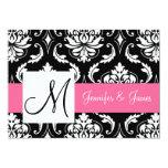 Pink Black Vintage Damask Initial Wedding Card