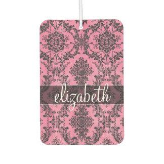 Pink & Black Vintage Damask Pattern with Monogram Car Air Freshener