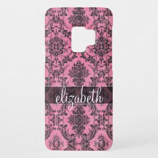 Pink & Black Vintage Damask Pattern with Monogram Case-Mate Samsung Galaxy S9 Case