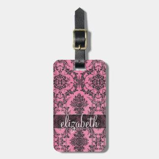 Pink & Black Vintage Damask Pattern with Monogram Luggage Tag