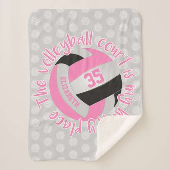 pink black volleyball court is my happy place sherpa blanket
