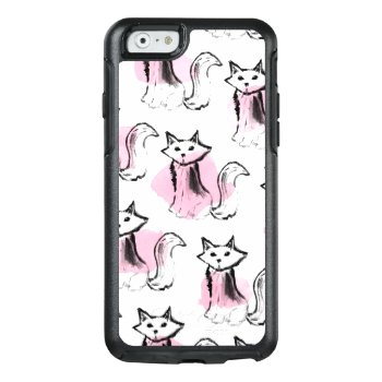 Pink Black Watercolor Brushstrokes Modern Cats Otterbox Iphone 6/6s Case by pink_water at Zazzle