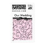 Pink & Black Wedding cards Postage Stamps