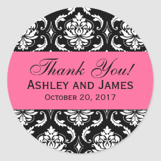 Pink, Black Wedding Damask Thank You Label