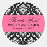 Pink, Black Wedding Damask Thank You Label Classic Round Sticker