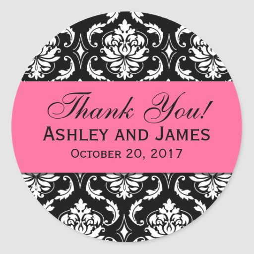 Pink, Black Wedding Damask Thank You Label Round Stickers
