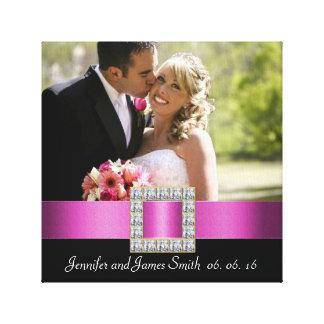Pink Black Wedding Photo Keepsake Canvas Canvas Print