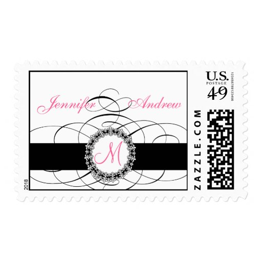 Pink Black Wedding Postage with Fleur de Lis