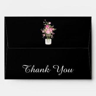Pink/Black WEDDING THANK YOU ENVELOPES