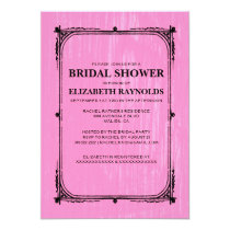 Pink Black Western Barn Wood Bridal Shower Invites
