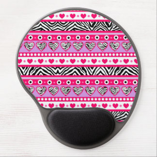 Pink black & white abstract zebra hearts and dots gel mousepads