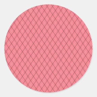 Pink Black White Argyle Pattern Classic Round Sticker