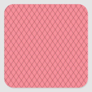 Pink Black White Argyle Pattern Square Sticker