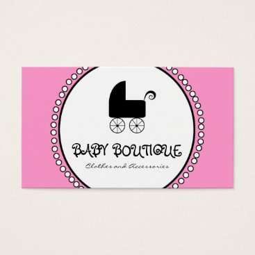 Professional Business Pink Black White Baby Boutique Business Cards