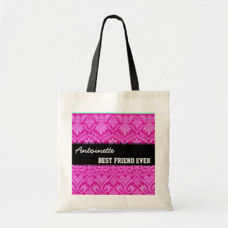 Pink Black White Best Friend Ever Custom Name Budget Tote Bag
