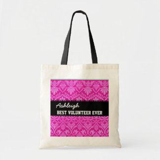 Pink Black White Best Volunteer Ever Custom Name Tote Bag