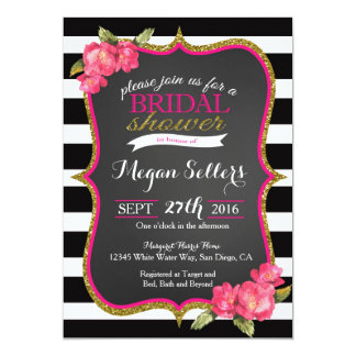 PInk black white Bridal shower invitation