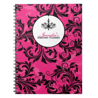 Pink Black White Chandelier Scroll Notebook