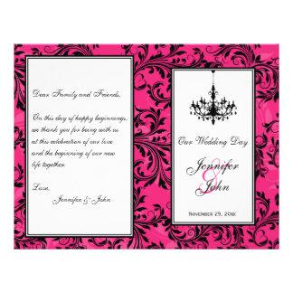 Pink Black White Chandelier Scroll Wedding Program