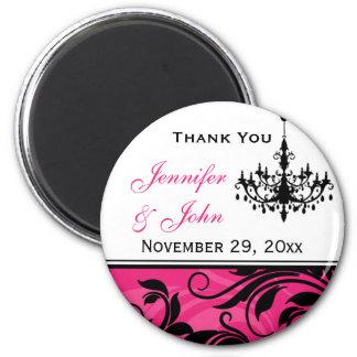 Pink Black White Chandelier Wedding Favor Magnet 2
