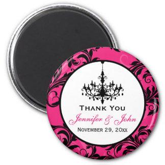 Pink Black White Chandelier Wedding Favor Magnet 3