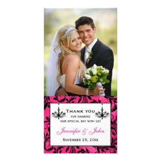 Pink Black White Chandeliers Wedding Photocard Card