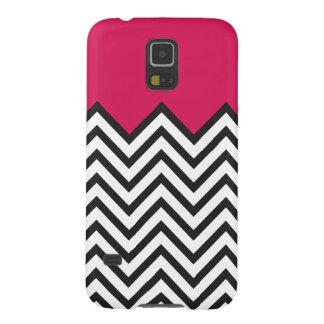 Pink, Black & White Chevron Galaxy S5 Case