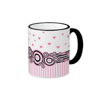 Pink Black White Circles Stripes Hearts Ringer Mug
