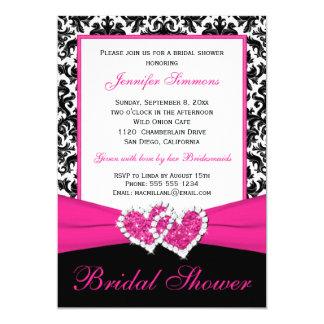 Pink Black White Damask Bridal Shower Invite