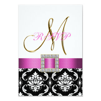 "Pink Black White Damask Initial Wedding RSVP 3.5"" X 5"" Invitation Card"