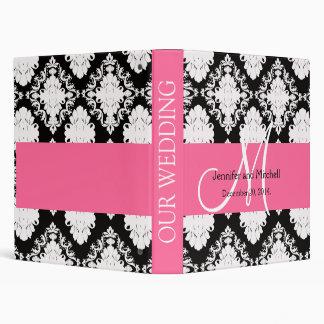 Pink Black White Damask Personalized Wedding 3 Ring Binder