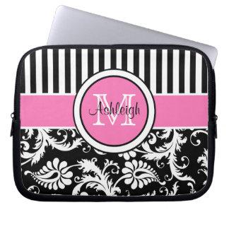 Pink Black White Damask Striped Laptop Sleeve
