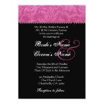 Pink Black White Damask Wedding Invitation