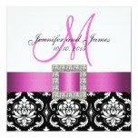 "Pink Black White Damask Wedding Invitation 5.25"" Square Invitation Card"