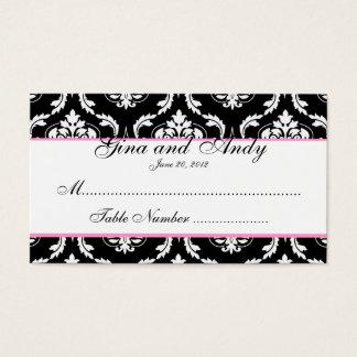 Pink, Black, White Damask Wedding Place Cards