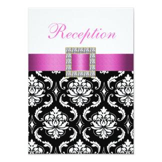 Pink Black White Damask Wedding Reception Card