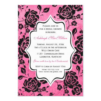 Pink Black White Floral Damask Bridal Shower Card