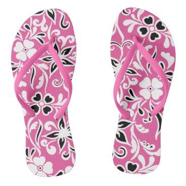 Beach Themed Pink black & white floral pattern flip flops