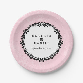 Pink Black & White Floral Scroll Wedding 7 Inch Paper Plate