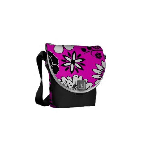 Pink black white flower art mini messenger bag