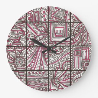 Pink, Black, White, Geometric Doodle - Ink Drawing Large Clock