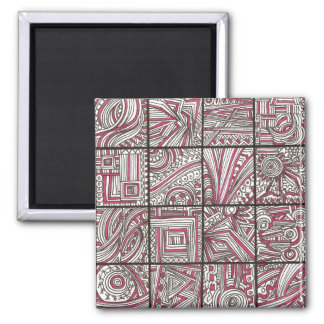 Pink, Black, White, Geometric Doodle - Ink Drawing Magnet