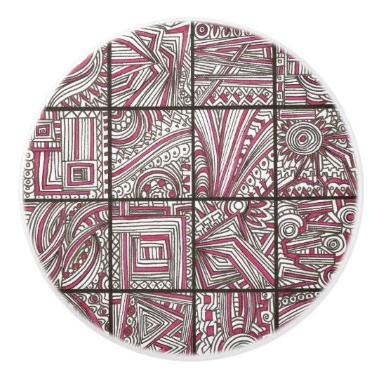 Pink Black White Geometric Doodle Modern Ink Ceramic