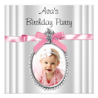 Pink Black White Girls Photo Birthday Party Announcement