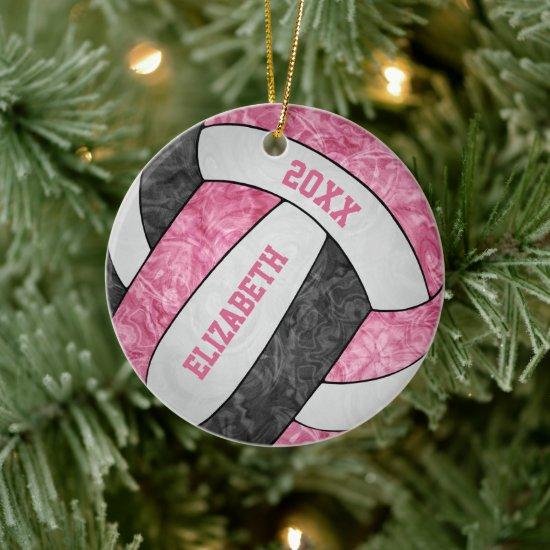 pink black white girly sporty keepsake volleyball ceramic ornament