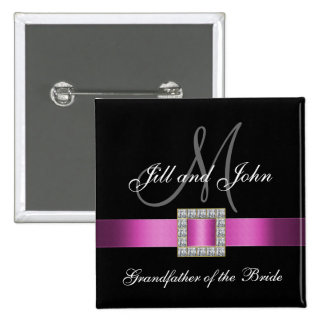 Pink, Black, White Grandfather of the Bride Pin