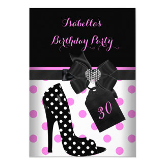 Pink Black White Heart Polka Dots Heels Birthday Card