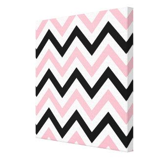 Pink, Black, White Large Chevron ZigZag Pattern Canvas Print