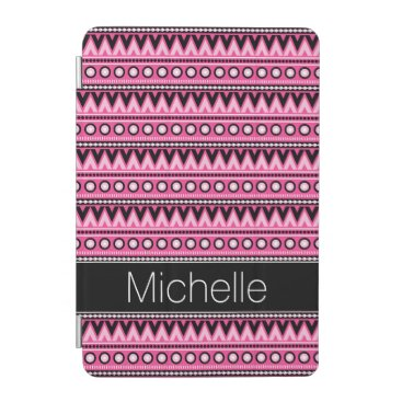 Aztec Themed Pink Black White Modern Aztec Tribal Pattern iPad Mini Cover