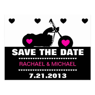 Pink,Black & White Motorcycle Biker Save the Date Postcard